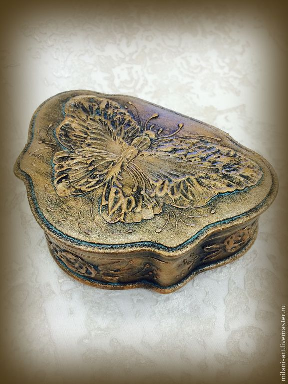 Купить Шкатулка-бабочка - золотой, имитация металла, бабочка, шкатулка для украшений, шкатулка