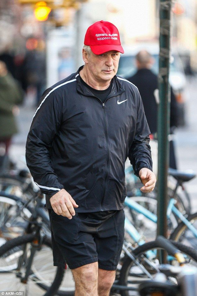 Comedic copy cat: Alec Baldwin was spotted wearing a Russian knock-off of President Trump's red Make America Great Again hats. The actor regularly impersonates the businessman on Saturday Night Live