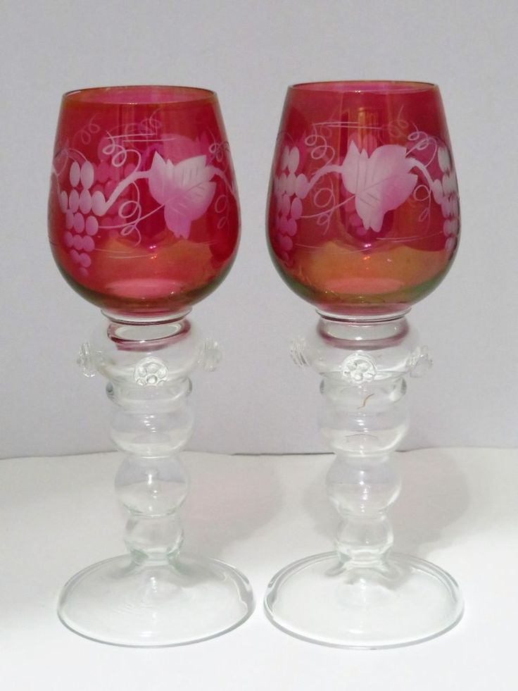 Pair Dessert Wine Glasses Circa 1900 Germany Cranberry Pink W Prunts Thick Stems #Unknown #Victorian
