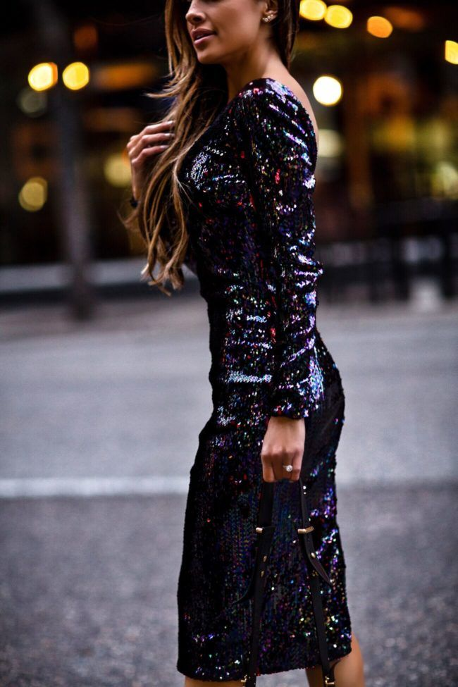 23 Nov 2017 Holiday Dresses That Make A Statement Outfit Details Dress The Potion Sequin Louboutin So Kate Heels Prada Cahier Bag