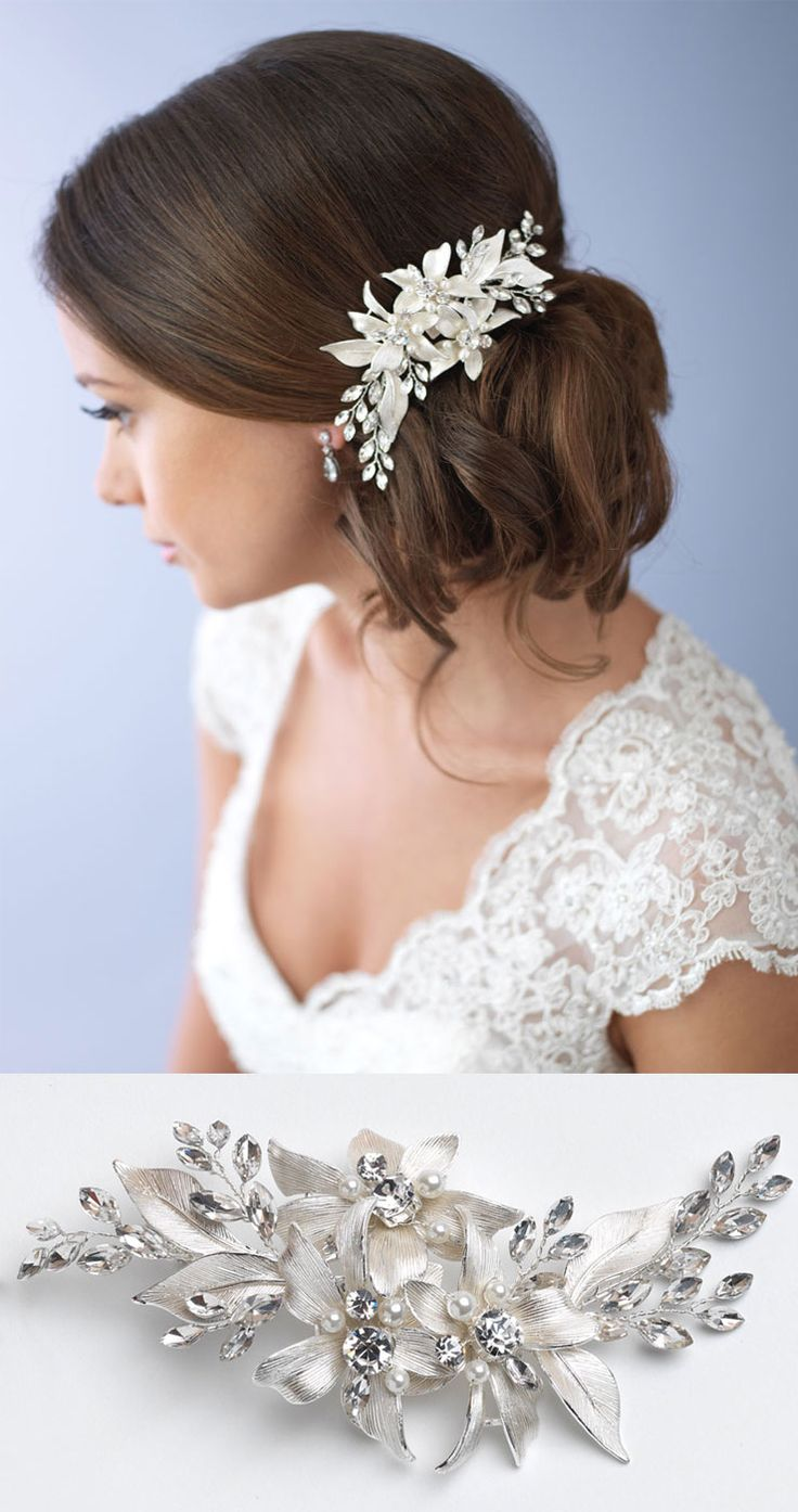 Wedding hair inspiration <3 love this gorgeous side bun and delicate pearl hair clip! Details include frosted leaves ornamented with shimmering rhinestones and soft white pearls. Dainty hand-wired marquise rhinestones branch off the clip for added sparkle.