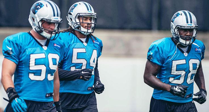 Coming soon to a stadium near you- you might want to rethink your RUN game lol, and don't get me started on coverage cause LUUUKE is a BEAST ! (Linebackers Luke Kuechly, Shaq Thompson and Thomas Davis of the Carolina Panthers)