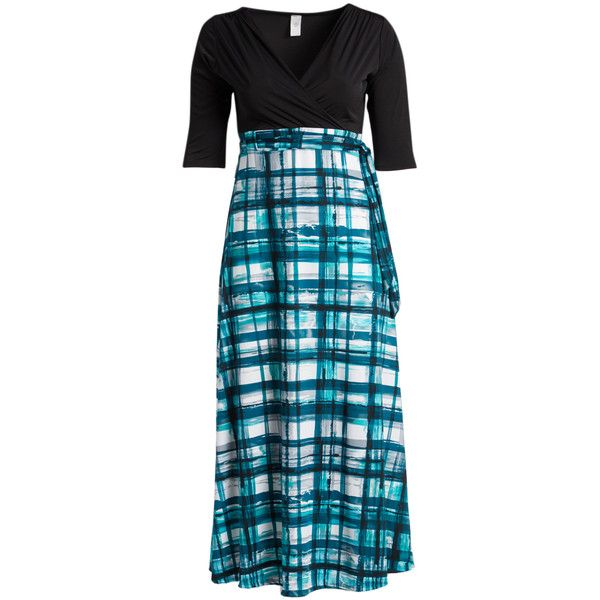 GLAM Teal & White Plaid Tie-Waist Surplice Maxi Dress ($32) ❤ liked on Polyvore featuring plus size women's fashion, plus size clothing, plus size dresses, plus size, women plus size dresses, teal maxi dress, womens plus size maxi dresses, long white dress and white dress