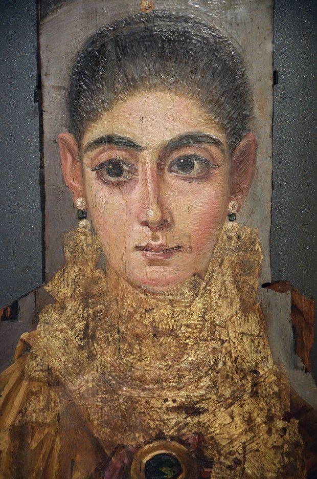 Fayum mummy portrait, Circa 120 - 130 AD, Courtesy of the Louvre, Paris, France