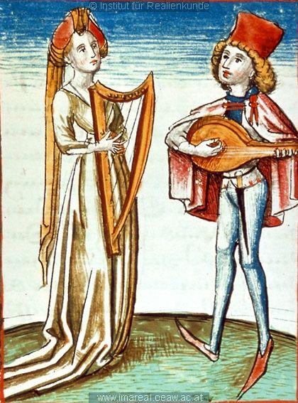 """""""Musizierendes Paar   Dieses Bild: 006766     1479 ; 1479 ; Wien ; Österreich ; Wien ; Österreichische Nationalbibliothek ; cod. 3049 ; fol. 169v"""""""