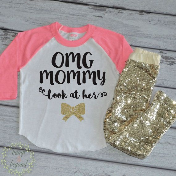 OMG Mommy Look at Her Bow,Toddler Clothes, Raglan and Sequin Pants Set, Baby Girl Clothes, Trendy Baby Clothes
