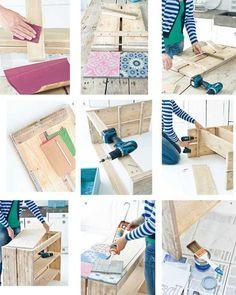Hacer muebles con palets ¡éste con baldosa geométrica es espectacular! 2