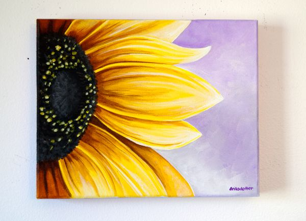 Sunflower In Purple Sky Painting A Day No 6 Paintings