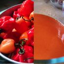 How to make your own habanero  Siracha!  DON'T FORGET THE GLOVES PEOPLE!!! Seed the peppers to cut back on the heat.  I'll give the seeds from the peppers to the chickens.  Birds don't taste heat and it actually  helps keep them free of intestinal parasites.