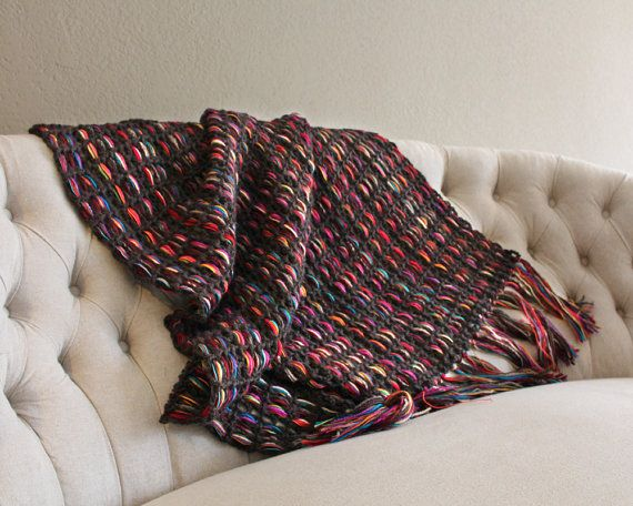 Blanket with fringes, throw afghan, home decor, decor throw, brown throw blanket