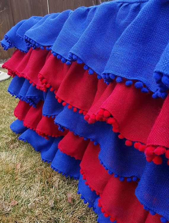 Burlap Ruffle Tablecloth with Pom Pom Fringe-Red by MyHauteStuff