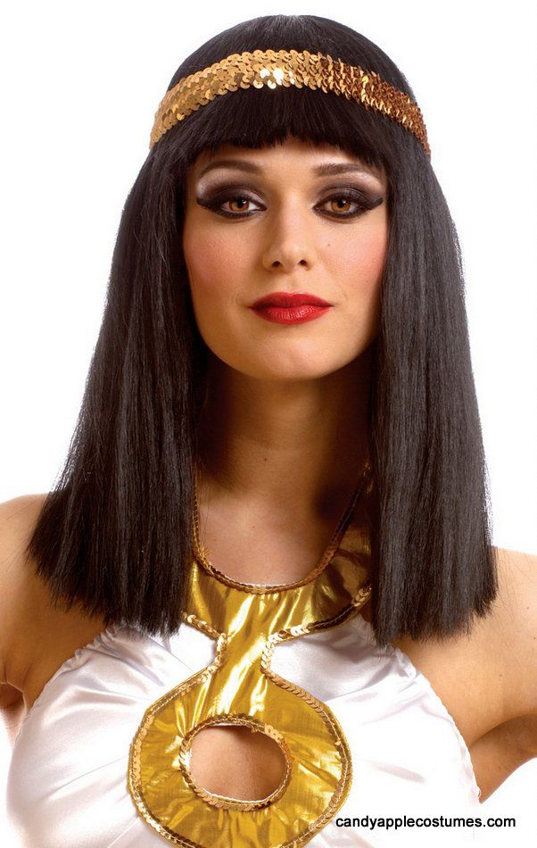 Cleopatra Wig With Gold Sequin Headband - Candy Apple Costumes