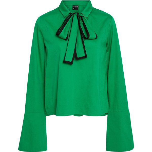 Cynthia Rowley Cotton Poplin bow Top (£220) ❤ liked on Polyvore featuring tops, t-shirts, green, bow top, green tee, cynthia rowley tops, flared sleeve top and cynthia rowley t shirts
