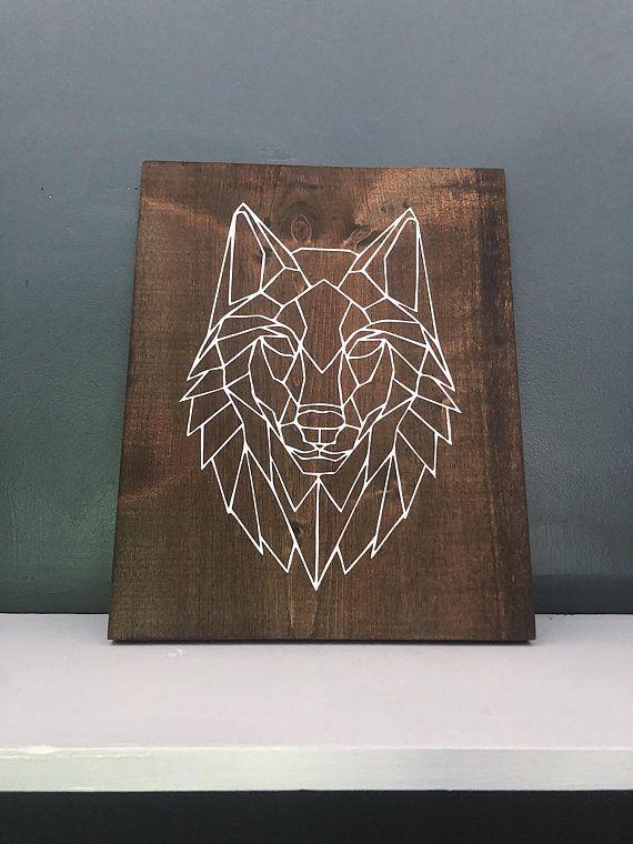 Geometric Wolf Wood Wall Art / Wolf Wall Decor / Minimalist / Modern