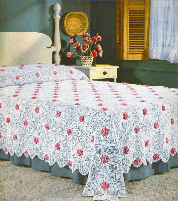 Rose and Pineapple Bedspread Crochet Pattern | Crochet ...