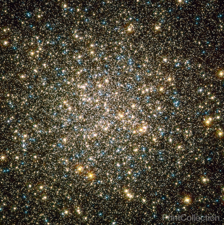 Like a whirl of shiny flakes sparkling in a snow globe, NASA's Hubble Space Telescope catches an instantaneous glimpse of many hundreds of thousands of stars moving about in the globular cluster M13,