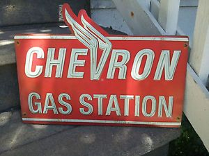 vintage gas and oil cans | Details about Vintage Look Chevron Gas metal sign, oil can gas station ...