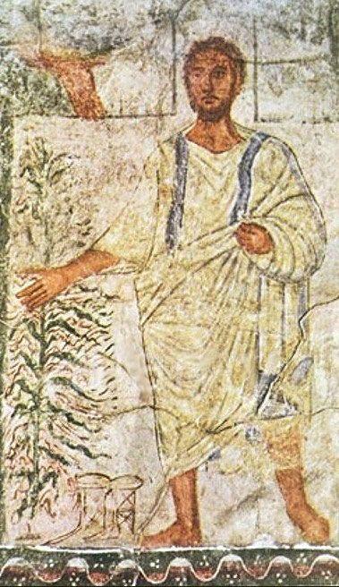 Moisés ante la zarza ardiente, incluyendo la Mano de Dios. Dura Europos
