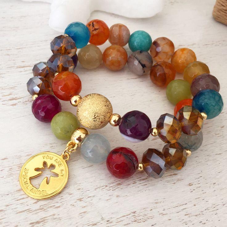 Set de pulseras con piedras ágatas by Luz Marina Valero