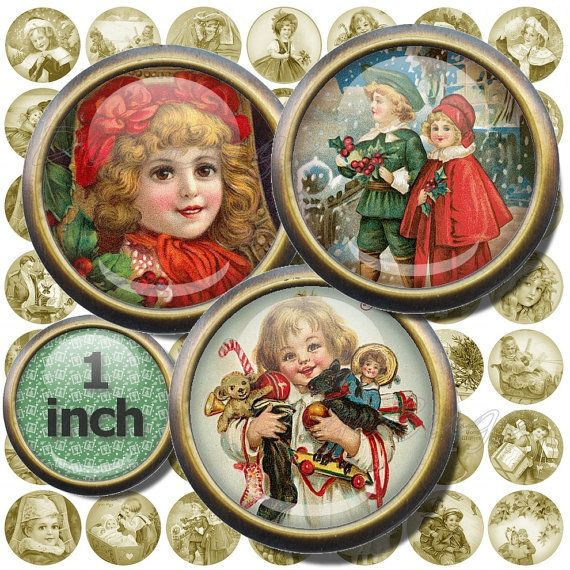 Old Christmas Postcards, Digital Collage Sheet, 1 inch Circles, Printable Vintage Christmas Images, Children Postcards, Digital Download