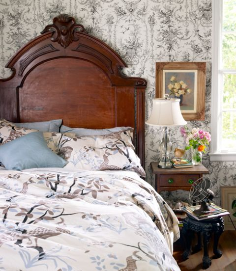 Toile wallpaper, like in this Birmingham house, feels both vintage and oh-so-pretty.
