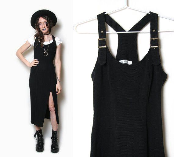 90s Bodycon Overall Dress - 90s Grunge Dress - Black Bodycon Dress - Black Dress with Slit - 90s Dress - Overall Dress - 90s 1990s - Maxi