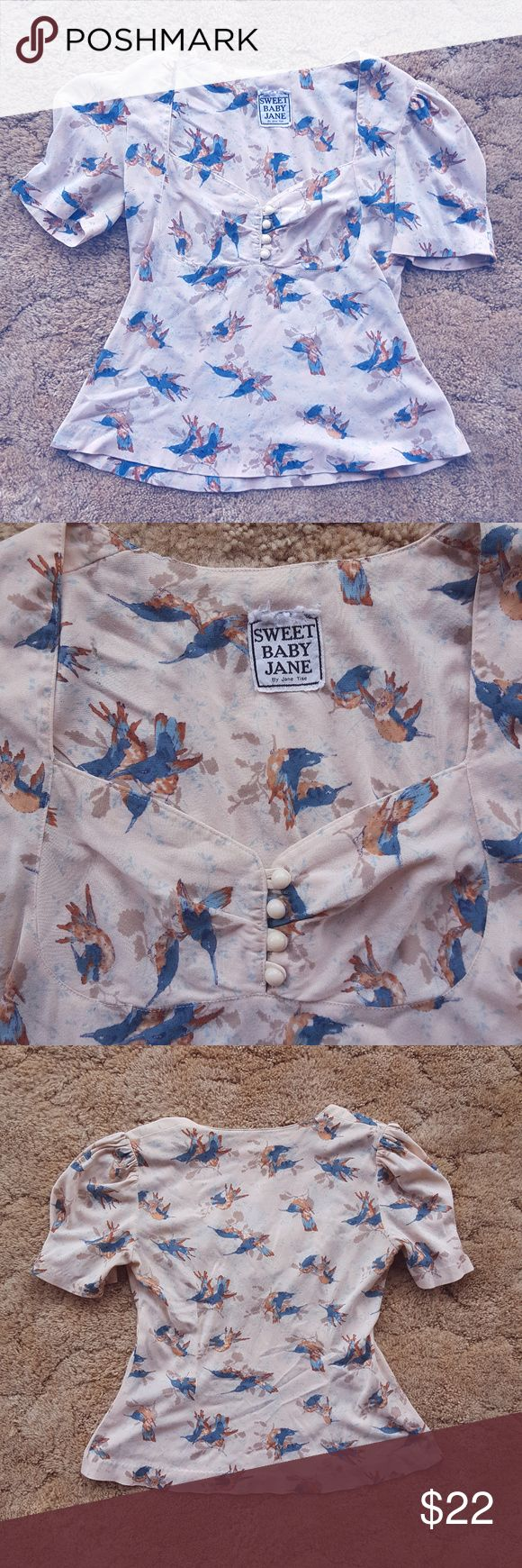 Vintage Sweet Baby Jane Vintage. This item has been well loved. Some small holes throughout material (moths). Size S. Flattering fit and beautiful bird print on cream colored background. Sweet Baby Jane Tops