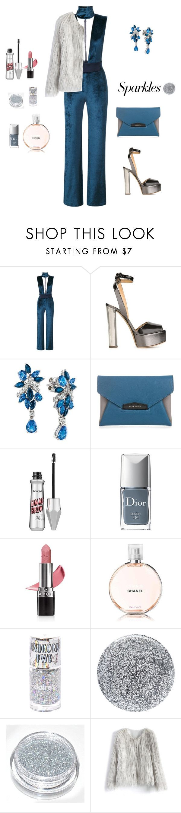 """""""#PolyPresents: Sparkly Beauty"""" by sebolita ❤ liked on Polyvore featuring beauty, Galvan, Giuseppe Zanotti, LE VIAN, Givenchy, Christian Dior, Avon, Chanel, Smith & Cult and Chicwish"""