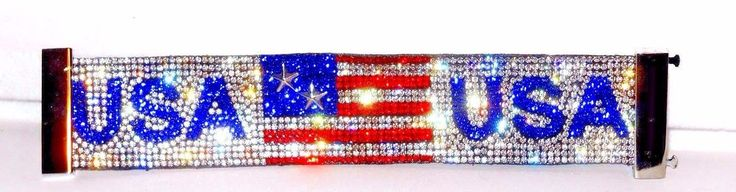 USA RED WHITE AND BLUE FLAG crystal Bracelet Magnetic closure  #Unbranded #Cuff