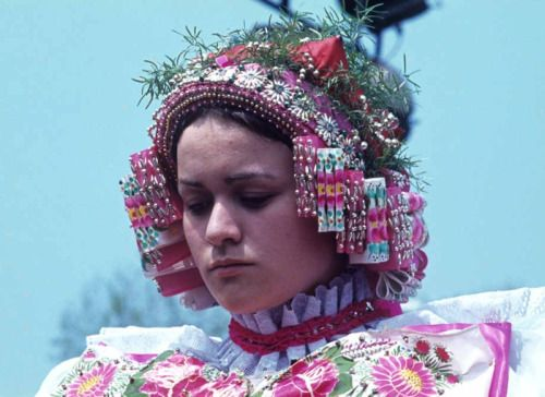 Bride from village Sekule, Záhorie region, Western Slovakia.