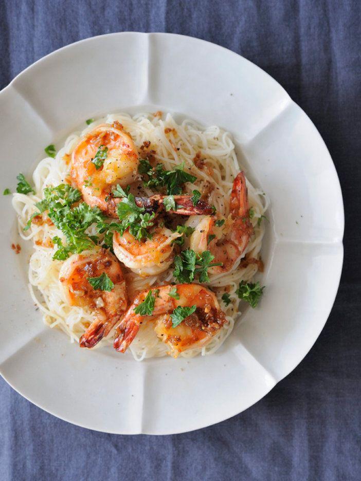 somen noodles with grilled shrimp