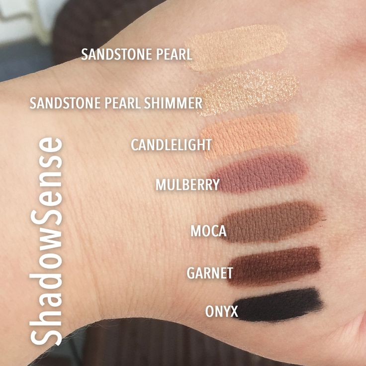 Senegence ShadowSense Swatches - Sandstone Pearl, Sandstone Pearl Shimmer, Candlelight, Mullberry, Moca, Garnet, Onyx