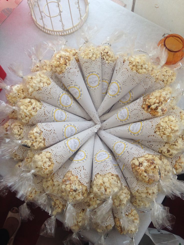 """Ready to Pop"" popcorn favours for baby showers. #sweet treats"