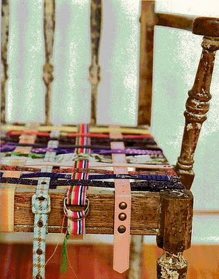 Not sure if I love this or hate it...hmmm. Inspiring, if you could find a singular color with varying patterns, and tighten the weave. Maybe for a footstool?