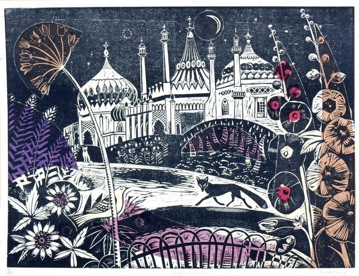 Brighton Pavillion - Woodcut by Sarah Young, print, relief print, printmaking, design, colour, plant, nature, fox, lino