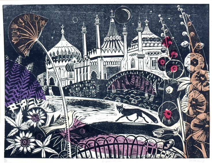 Brighton Pavillion - Woodcut by Sarah Young, print, relief print, printmaking, design, colour, plant, nature, fox, lino