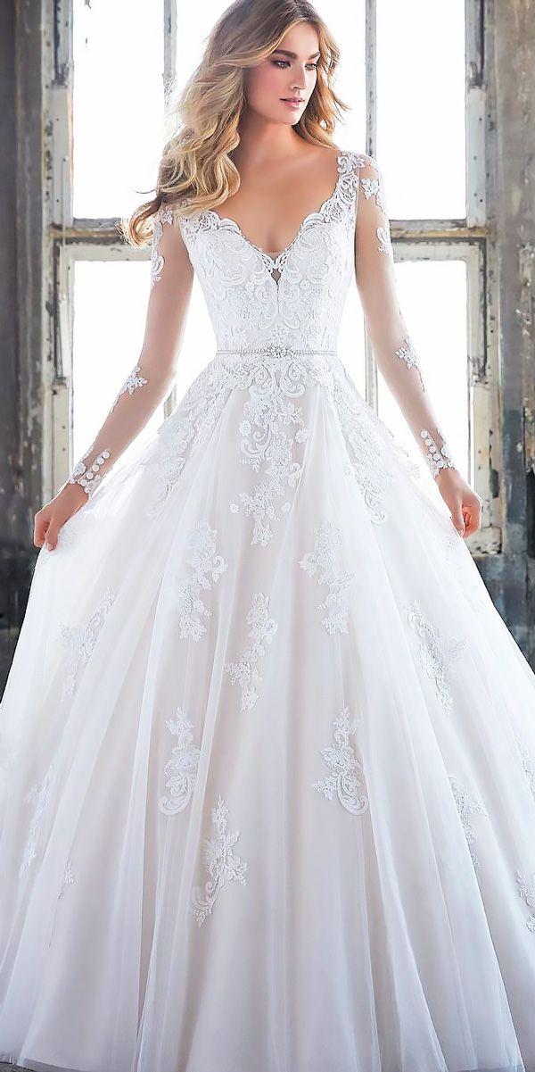 10 Best Wedding Dress Designers For 2017 ❤ wedding dress designers lace long sleeves a line v neckline mori lee ❤ See more: http://www.weddingforward.com/wedding-dress-designers/ #wedding #bride