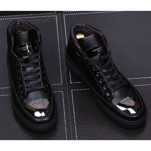 Cool Black Leather Lace Up Hip Hop Fashion High Tops Boots for Men SKU-1280366