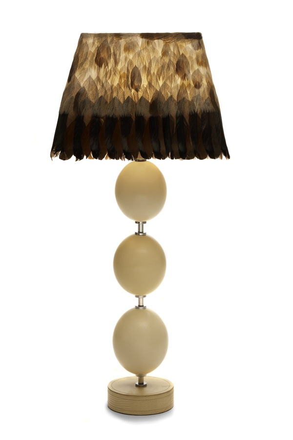 3 egg lamp double stitched base with genuine kudu lampshade of egyptian goose feathers stainless electrical fittings overall height shade x x linen
