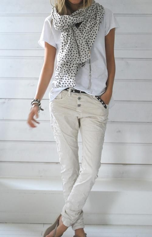 White t-shirt over ivory pants with black & white polka dot scarf.