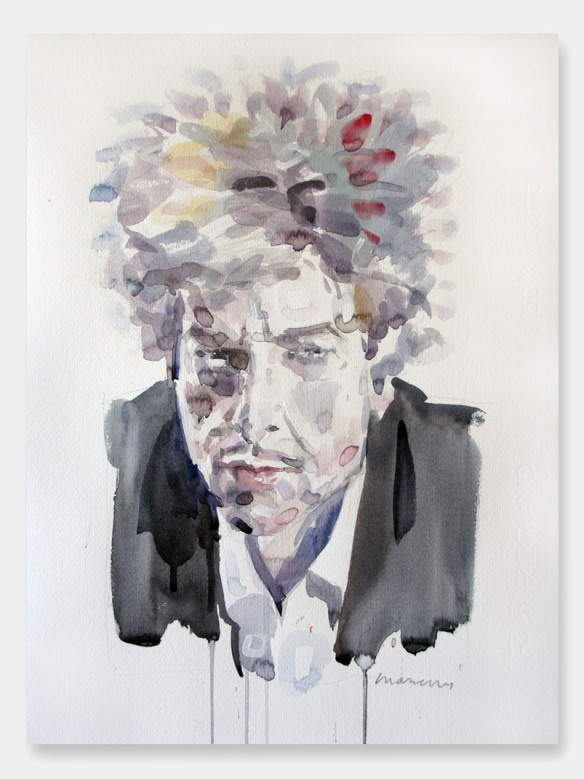 Bob Dylan Liquid Portrait, 2013 Watercolour 500x350 mm