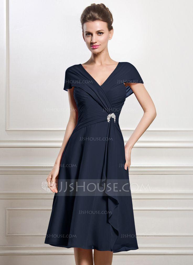 A-Line/Princess V-neck Knee-Length Chiffon Mother of the Bride Dress With Beading Sequins Cascading Ruffles (008056884) - JJsHouse