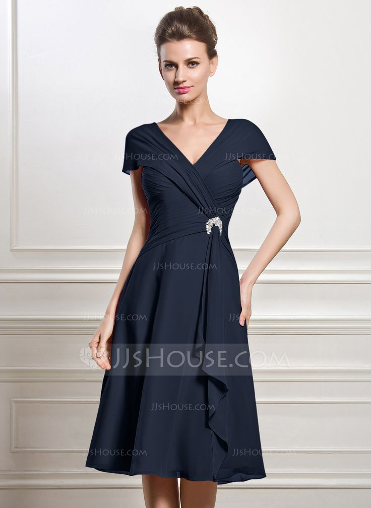 A-Line/Princess V-neck Knee-Length Chiffon Mother of the Bride Dress With Beading Sequins Cascading Ruffles (008056884) - JJsHouse