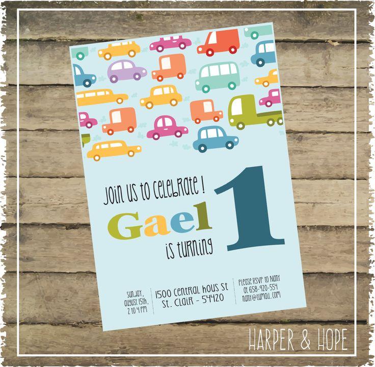 Printable - Cars Baby Boy 1st Year Birthday Invitations - Customizable by HarperandHope on Etsy