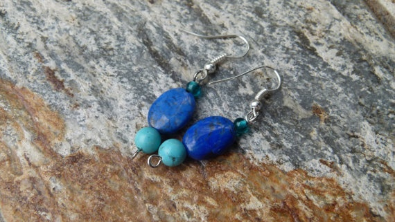 Earrings Deep blue Lapis Lazuli and Turquoise by Retrobeadbling, $10.00