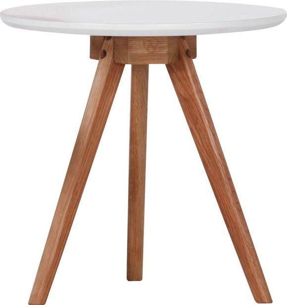 Dieser+Beistelltisch+ist+ein+praktischer+Helfer+für+den+Alltag+und+beeindruckt+durch+die+Harmonie+aus+Weiß+und+Akazie.+Die+runde+Tischplatte+wird+mit+den+massiven+Echtholzbeinen+zum+wahren+Hingucker.+Dieser+dreibeinigen+Beistelltisch+ist+der+perfekte+Begleiter+für+Ihre+Couch+und+Ihren+Sessel!