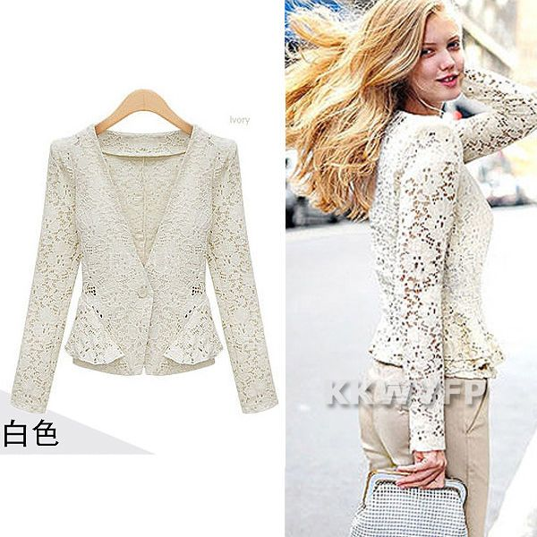 Fashion Summer Women Lady Floral Lace Tops Frill Suits Blazer Jacket White Black