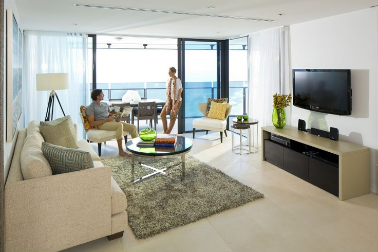 Watch TV and Lounge with the Pacific Ocean as the backdrop #Soul #SurfersParadise #GoldCoast #InteriorDesign