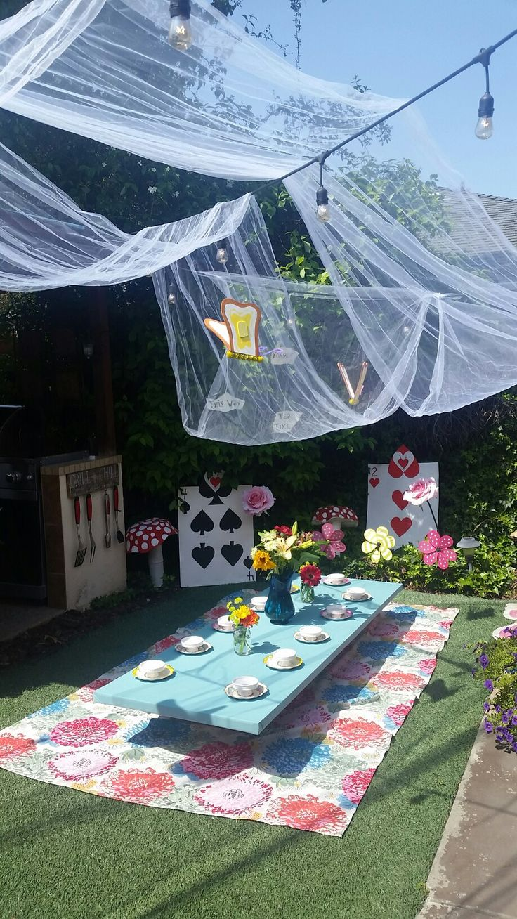 Outdoor tea party for Alice in Wonderland birthday party.