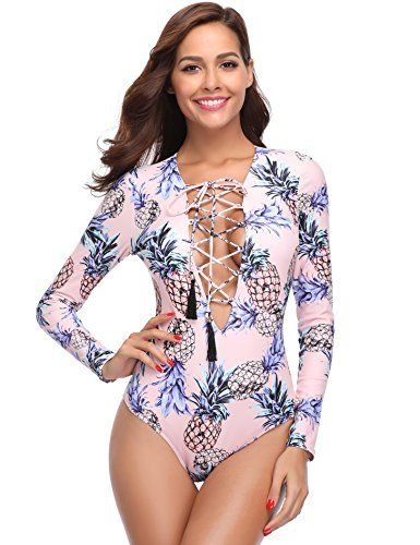 ae72715785 MarinaVida #Women One Piece Long Sleeve #Swimsuit Deep V Neck Bathing Suit,  Pink-pineapple, Size; XXL